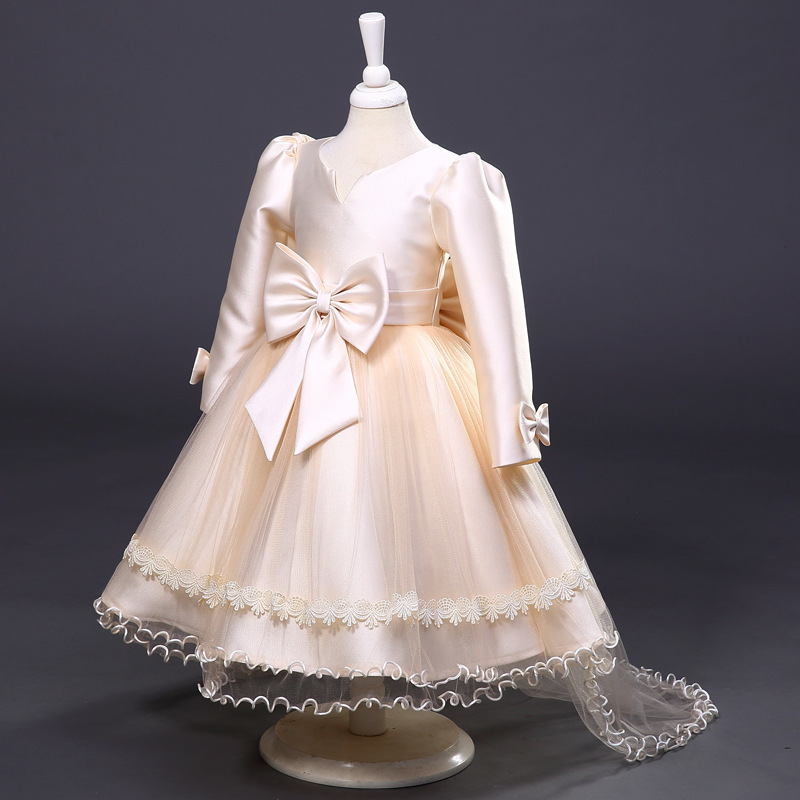 Baby Girl Princess Dress 3-12 Years Kids Long Sleeve Autumn Winter Wedding Formal Dresses for Toddler Girl Children Bow Fashion<br>
