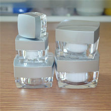 acrylic silver cap square jars 5g 10g 15g 30g 50g,eye cream cosmetic jars,hand sample rouge specimen box F20171206