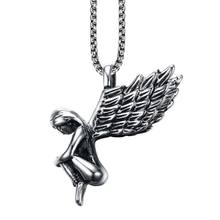 Cherub Necklace Angel Wing Pendant Necklace Stainless Steel Spiritual Runway Wedding Jewelry Valentines Day Gift 23in(China)
