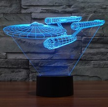 Novelty Lamp 3D Star Trek Bulbing Night Light Color Changing LED Lighting Star Wars Home Bedside Nightlight for Child Gift