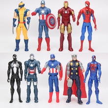 30cm American Movie Anime Super Heros Captain America Ironman Spiderman The First Superhero PVC Figure Toy(China)