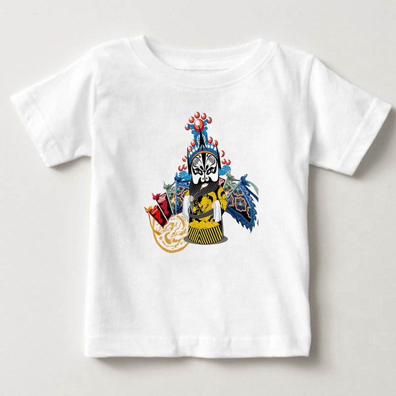 2018 Summer Boys girls short sleeves Beijing Peking opera character face changing Chinese style T-shirts.