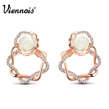 Viennois Jewelry Rose Gold Color White Rose Flower Lady Stud Earrings for Woman Rhinestone Circle Round Twisted Earrings(China)