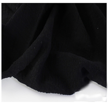Soft Linen Cotton material black crincle wrinkle tissue scarves dress double layer linen cotton crepe fabric By meter