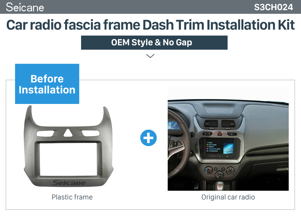 Seicane Double Din Car Stereo Radio Fascia Panel Install 370368 Dash Bezel Trim Mount Kit For 2016+ GM CHEVROLET COBALT OEM style No gap