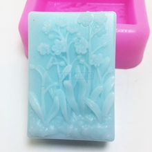 BL011 flowers silicone molds square soap mold food grade silicone cake mould(China)