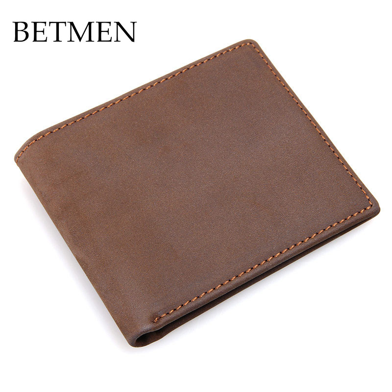 BETMEN Vintage Genuine Leather Men Wallets Casual Bifold Crazy Horse Leather Wallet Slim Card Holder<br>