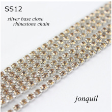 Boutique!10yards/lot SS12(3.0mm) Jonquil crystal Clothing Charm sew accessories silver base rhinestone chain(China)