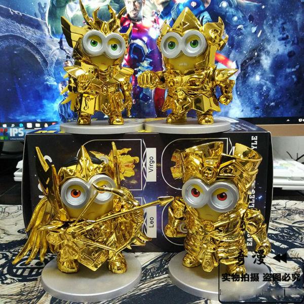 2015 Anime Despicable Me minions Cosplay Gold Saint Seiya Sagittarius, Gemini, Leo, Virgo PVC Action Figure Toys Free Shipping<br><br>Aliexpress