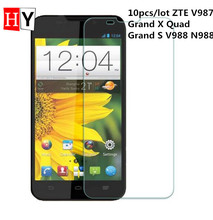 High Transparent Screen Protector Film For ZTE V987 Grand X Quad Grand S V988 N988 0.26mm Anti Finger Print 9H 10pcs/lot