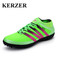 Hot Men Kids Soccer Shoes For Artificial Turf Cleats Green/Black Indoor Football Shoes Leather Turf Boots Indoor Soccer Cleat