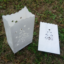 100pcs/lot 16*9*26cm white Christmas Tree Candle Paper Bag Luminaries decorative Christmas party supply(China)