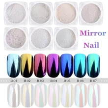 2g Mirror Nail Glitter Pigment Powder Gold Blue Purple Dust Manicure Nail Art Glitter Chrome Unicorn Pearl Powder Decorations