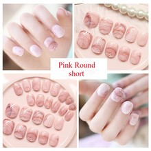 TKGOES 24pcs/set Full False Nails Marble French Fake Nails Pink Round Short Design Faux Onlges High Quality Nail Tips Free Glue