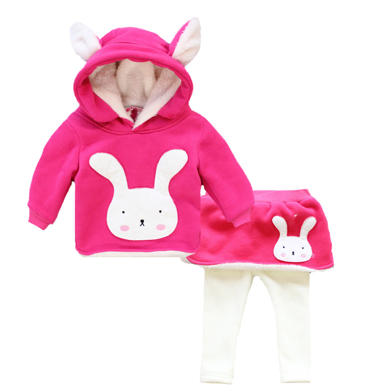 NEW Year Winter Kids Clothes cute rabbit Clothing velvet thicken Baby Girls Hoodies Set Children princess sweatshirt jackets<br>