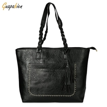 On Promotion Fashion Women Leather Handbag With Big Pocket Ladies Tassel Zipper Big Shoulder Bag Women Large Capacity Tote Bags