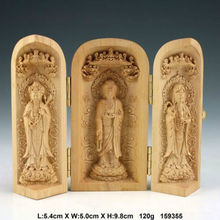 Exquisite Oriental Vintage Boxwood Handwork Carved Kwan-yin Statue Auspicious Amulet Box(China)