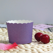 50pcs Pure Purple Pink Yellow light Blue Red cake cups paper cake mini baking cup decorative wedding birthday party favors(China)
