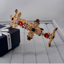 2017 Fashion colorful crystal cross hairbands for women head jewelry gold headband crowns bridal tiara wedding hair accessories