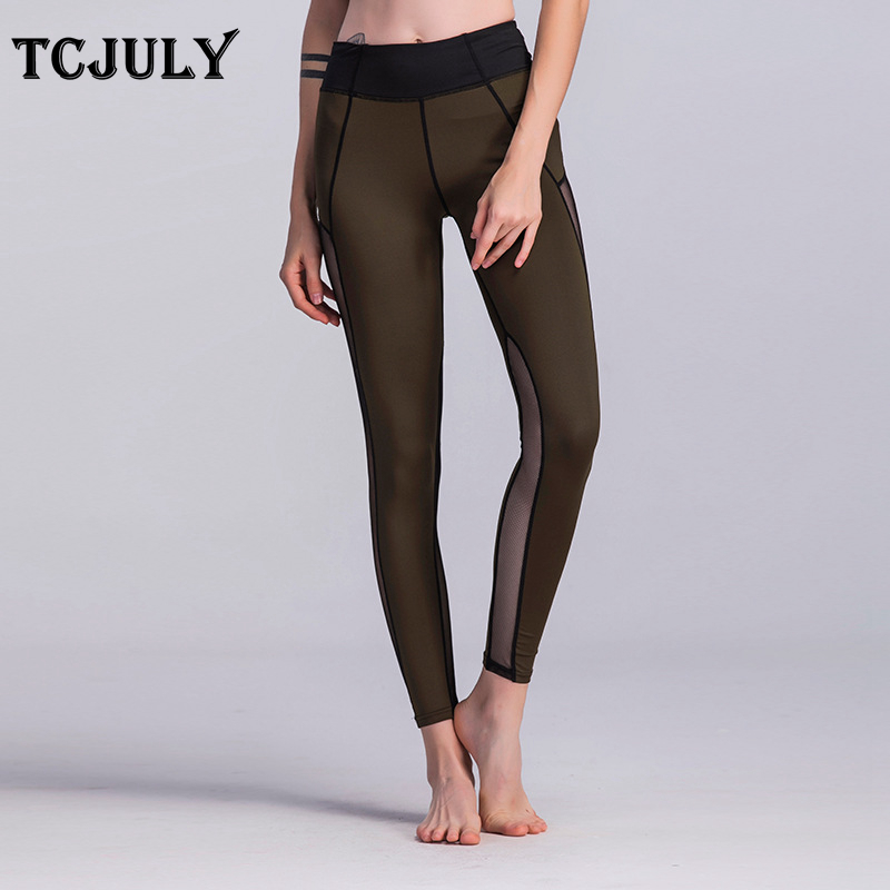 Mesh Pattern Patchwork Leggings, Women's Knitted Push Up Fitness Legging, High Waist, Flex, Stretchy, Casual, Ankle Length Pants 18