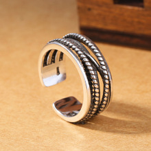 Retro Man's Ring. Thailand Silver Plated Rings. Ring Open