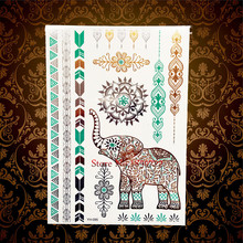 Brand New Henna Elephant Designs Flash Gold Metallic Temporary Tattoo Sticker HYH095 Sexy Women Henna Flower Ganesha Tattoo Fake