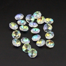 10pcs Ab Colors 14mm Glass Crystal Octagon Beads Crystal Chandelier Beads In 2 Holes For Home/Hotel/Part Lamp Deconation
