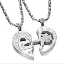 Stainless Steel Lock & Key Pendant Lovers' Jewelry Personality Couple Cloth Accessories