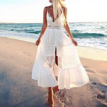 Buy Boho Women White Solid Long Maxi Beach Dress 2017 BBYES Summer Sexy V Neck Spaghetti Strap Patchwork Lace Buttons Casual Party for $12.46 in AliExpress store