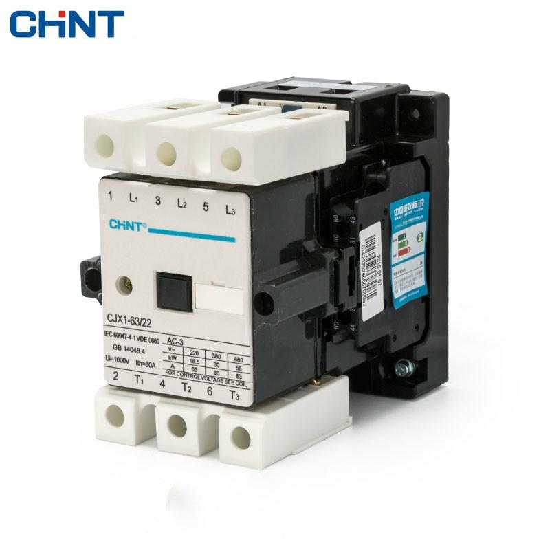 CHINT Communication Contactor CJX1-63/22 3TF47 63A AC Contactor Voltage 380v 220v 110v 36v 24v<br>