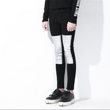 Male black tide Harajuku punk skinny feet pencil pants jeans beggar silver paint coating patch autumn Size S M L