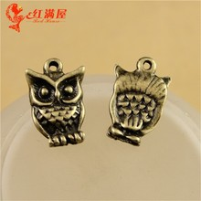16*11MM Antique Bronze Vintage owl charm pendant beads, DIY accessories of mobile phone cute charm, wholesale cheap charms China