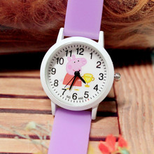 Small Order 50PCS/LOT Wholesale Small Pig Quartz Children Wristwatches Girls Glow In The Dark Silicone Cartoon Kid Jelly Watches