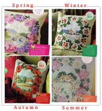 Top Quality Lovely Counted Cross Stitch Kit Cushion  Pillow Pillowcase Spring Summer Autumn Winter Four Season Seasons