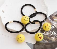 Cute little yellow ball smile face hair lap girl hair tie headband hair accessories wholesale jewelry