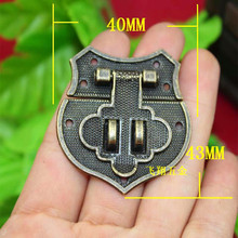 43 * 40mm Antique Heart Box buckle Wooden Gift Box Alloy box buckle Hasp Hardware Lock Wholesale(China)