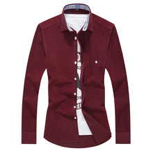 Brand Men's Fashion Shirt 2017 Main Push Men Shirts Fashion Corduroy Shirt Men's Casual Long-Sleeved Dress Shirt Slim Tops