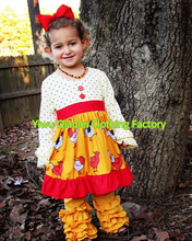 2016 new style boutique Thanksgiving chicken dress for girls