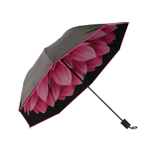Modern style Flower Windproof Travel Parasol Female Colorful Umbrella Black Sunshade Prevent Ultraviolet Sunny Rainy Umbrella(China)