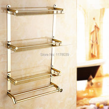 wall mounted Gold-plated bathroom shelving,3 layer dual towel bars rack,stainless steel towel rail with shelf,J16376(China)