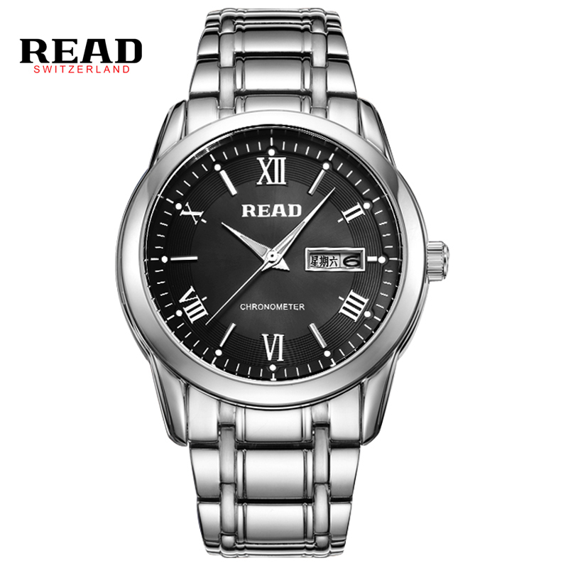 READ fashion casua stainless steel wristwatch mens quartz watch week calendar display 50m waterproof  saat erkekler  6085 round <br>