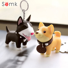 Semk Anime Figure Dog Keychain Hand-painted Craft Dog Bull Terrier Keychain PVC Vinyl Animal Figure Trinkets for Car Keychain(China)