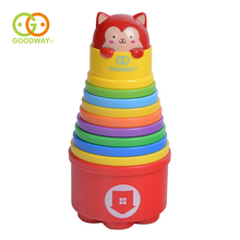 GOODWAY Children's Water Bathing Toys Rainbow Stacking Cups Set Kids Early Education Count Number Cup Stacker Toys for Children(China)