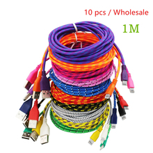 Hot Selling 10Pcs/Lot Braided Fabric 1M USB Cord Data & Sync Charger Cable For iPhone 7 6 6s Plus 5 5S 5C Wholesale