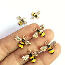 Free Shipping 5PCs 14*18MM 3D Kawaii Animal Bee Enamel Alloy Pendant Charms Gold Tone Plated DIY Jewelry Findings Oil Drop Charm