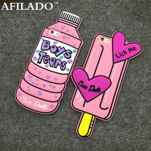 Fashion Bottle Boys Tears Ice Cream Lick Me Soft Rubber Back Cover for Apple IPhone 6 6s 3D Silicone Phone Case Shell Coque Capa(China)
