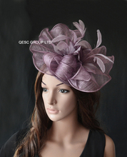 NEW Heather purple Big Sinamay  fascinator hat with feather flower for melbourne cup,ascot races, kentucky derby wedding.