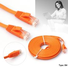 5M High Quality High Speed Cat6 Ethernet Noolde Flat Cable Ultra Thin Design RJ45 Computer LAN Internet Network Cord Orange(China)