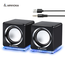 ARVICKA Wired Mini Computer Speakers LED USB 2.0 PC Speakers for Laptop Desktop Phone 6W Powerful Upgrade Multimedia Speaker(China)