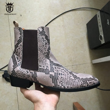 2017 Autumn and Winter New High-end Luxury Serpentine Handmade Chelsea Boots Male Genuine Leather High Quality Dress Boots(China)